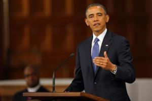 US President Barack Obama speaking at an Interfaith service in the aftermath of the Boston Marathon bombings
