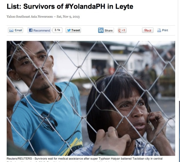 The YAHOO LIST OF SURVIVORS is sourced from the Facebook updates of Tacloban Rep. Martin Romualdez