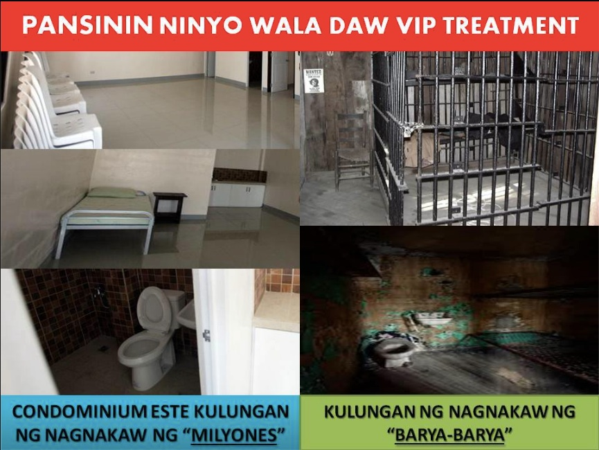 Cells for senators vs cells for common criminals. From the Facebook page of Abdur Rashid Santos.