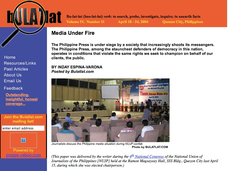 Screengrab of Bulatlat.com page that featured the author's 2004 speech when she was elected chair of the National Union of Journalists of the Philippines (NUJP). She served as chair until 2006 and as a director from 2006 to 2008.