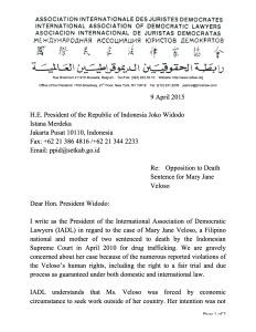 IADL letter to Indonesian President Joko Widodo