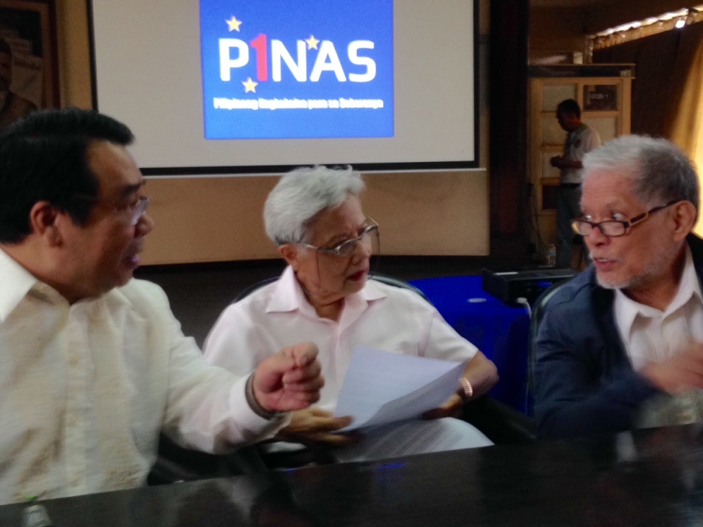 Bayan Muna Rep. Neri Colmenares, former senators Leticia Ramos-Shahani and Rene Saguisag at the launch of P1NAS, a movement to push for an independent Philippine foreign policy. Photo by inday espina-varona