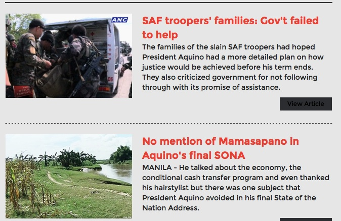 Screenshots of stories on abs-cbnnews #Fallen44 special microsite