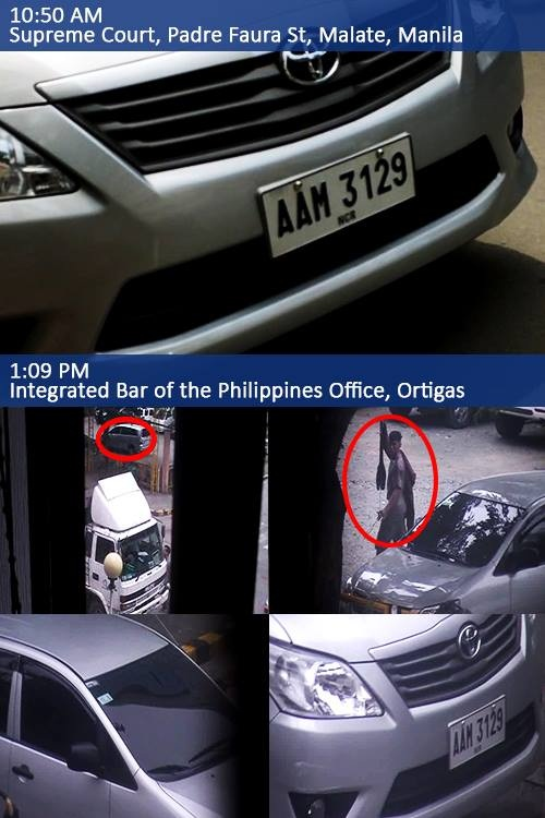 Vehicles and men caught trailing Antonieta Setias-Dizon, former Deputy Secretary General of government workers' union COURAGE and still an adviser of the group.