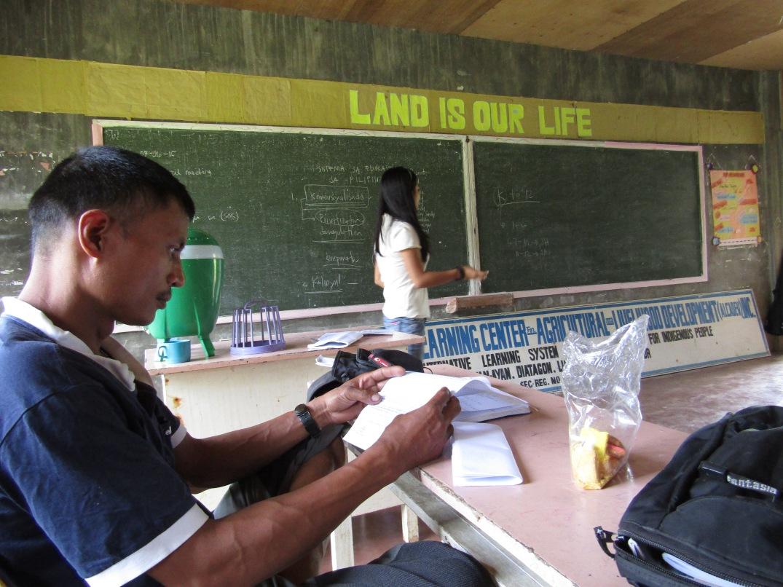 DIONEL CAMPOS, slain Mapasu chair, inside the Alcadev school in Diatagon, Liangan, Surigao Sur. Photo Courtesy of ALCADEV