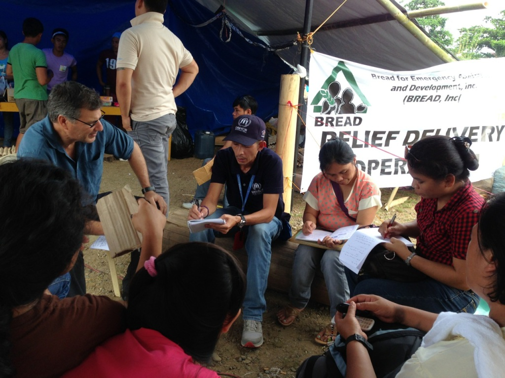 Peter Deck, UNHCR head of office for Mindanao, interviews students and teachers of Alcadev, an alternative school in Lianga, Surigao Sur, after the evacuation of close to 3,000 lumad. The head of Alcadev was among three men killed by paramilitary forces in the early hours of Sept. 1