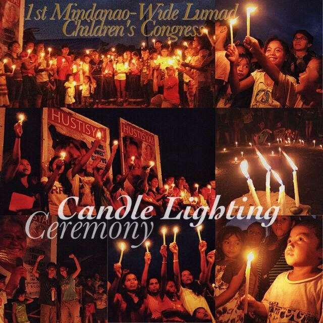Candles for Justice at the first Mindanao-wide Lumad Children's Congresst. Photo Courtesy of CBDH Tandag's Facebook page.