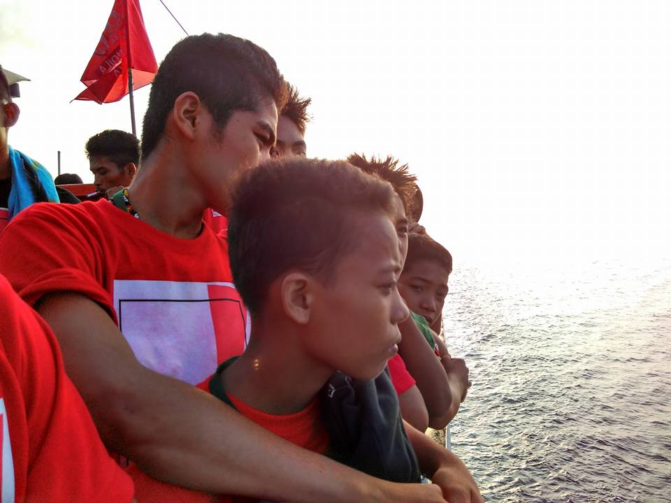 Lumad youth crossing the seas between the Visayas and Bicol during the Manilakbayan. Photo by Altermidya