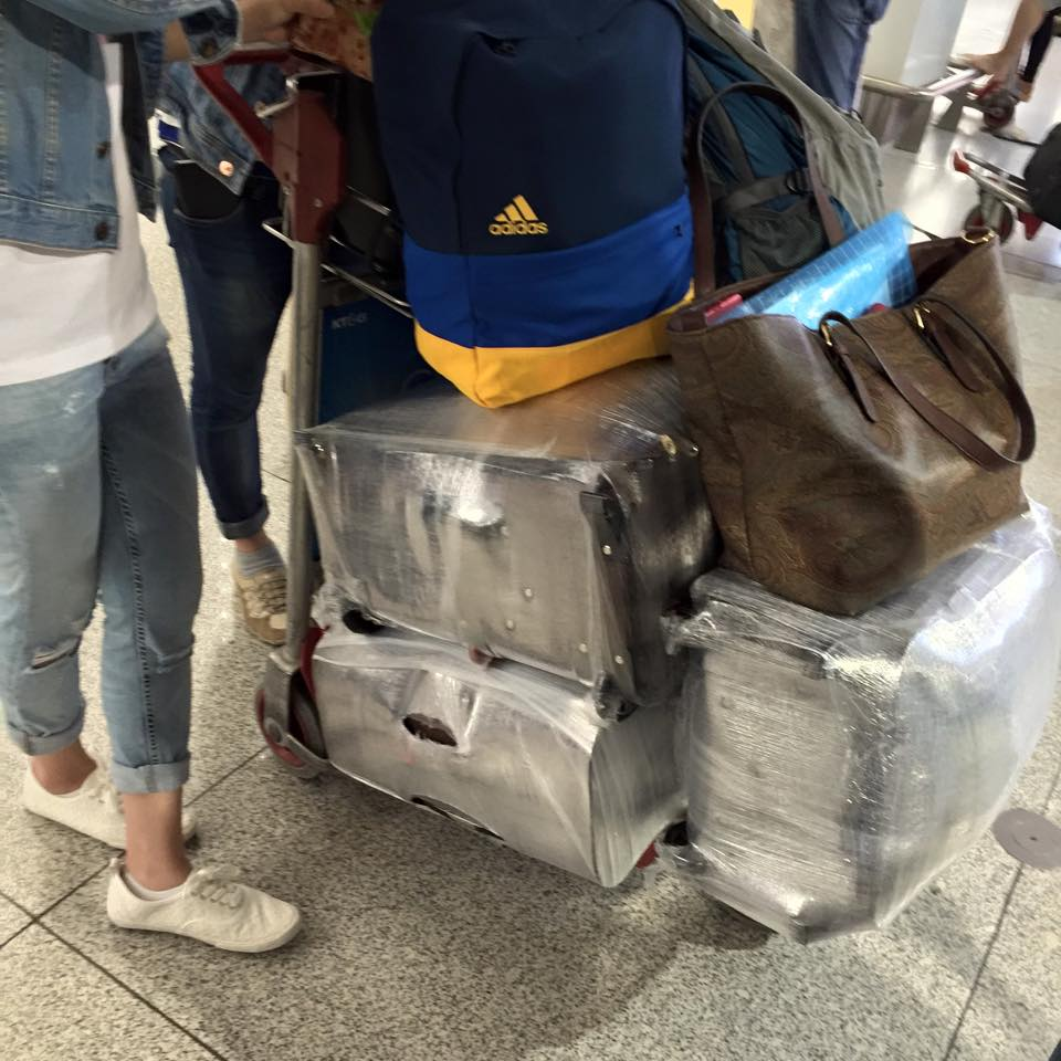 Nervous OFWs are taking extra efforts -- and paying additional costs -- to ensure they do not fall victim to #TanimBala. Photo by Peachy Rallonza Bretana, taken at the Dubai Int'l Airport