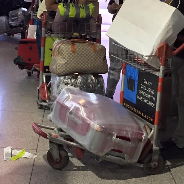 Vacuum-packed luggage of OFWs at the Dubai International Airport Terminal 1. Photo by Peachy Rallonza-Bretana